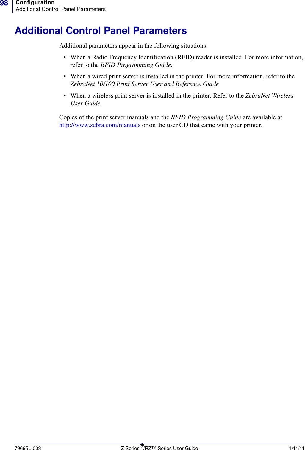 Zebra Rz400 Users Manual Z Series / RZ User Guide