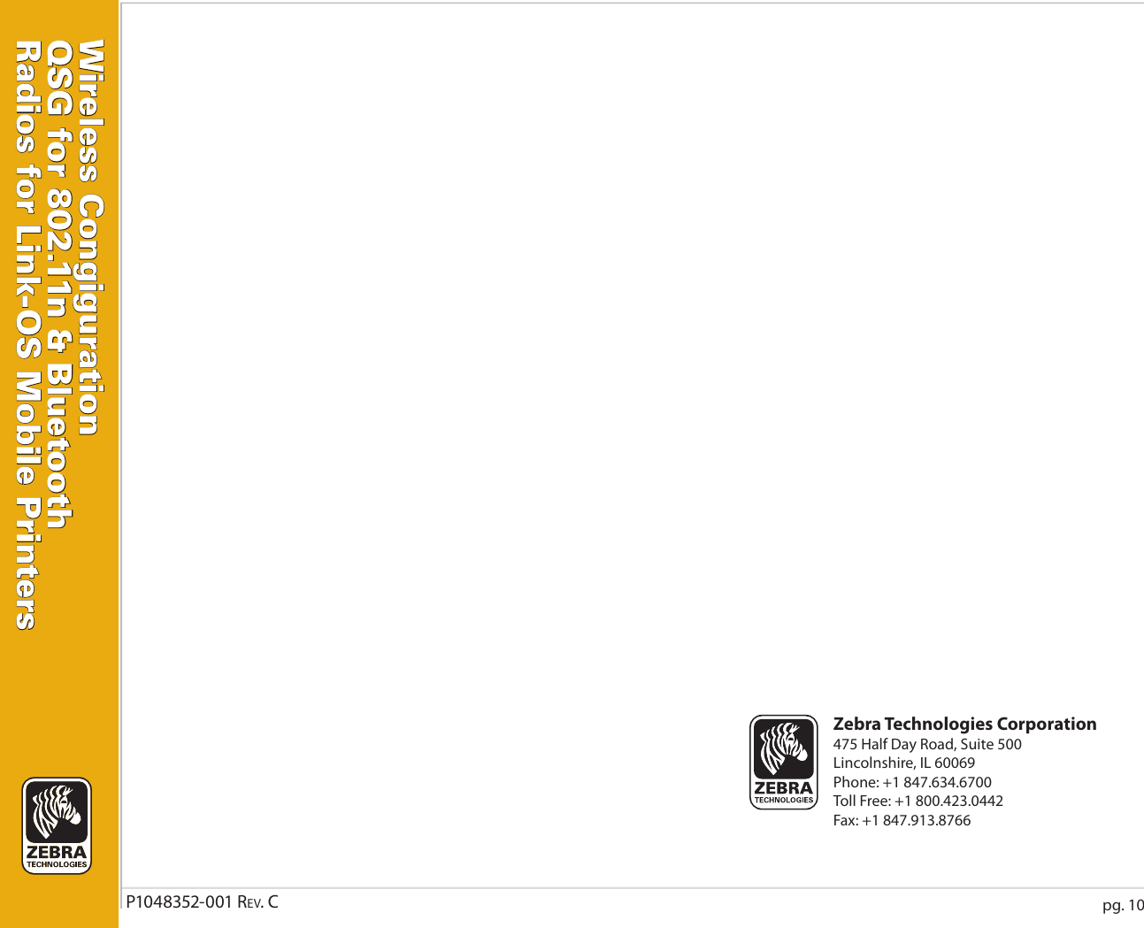 Zebra P1048352 001 Users Manual