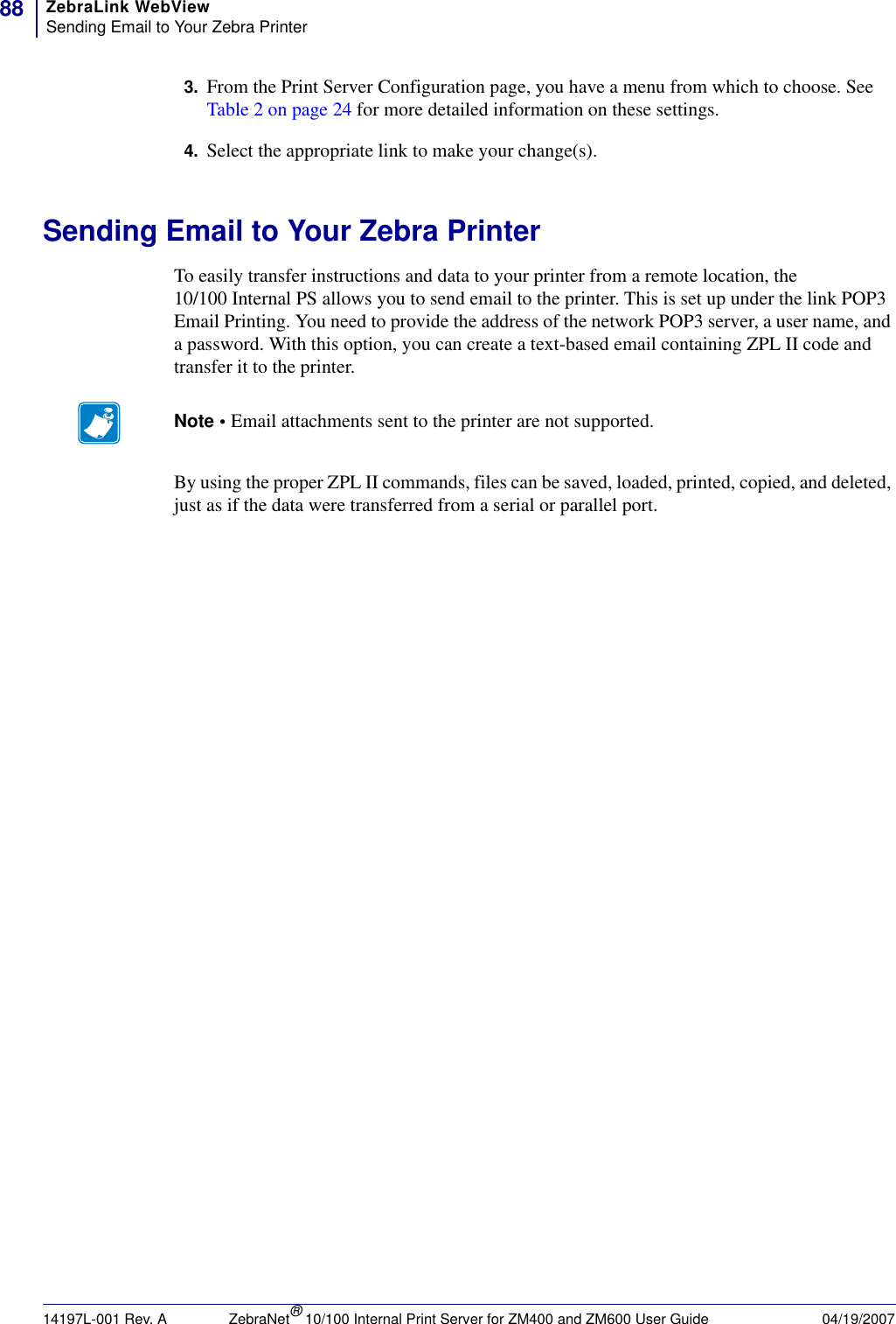 Zebra Zebranet Zm400Tm Users Manual 10/100 Print Server