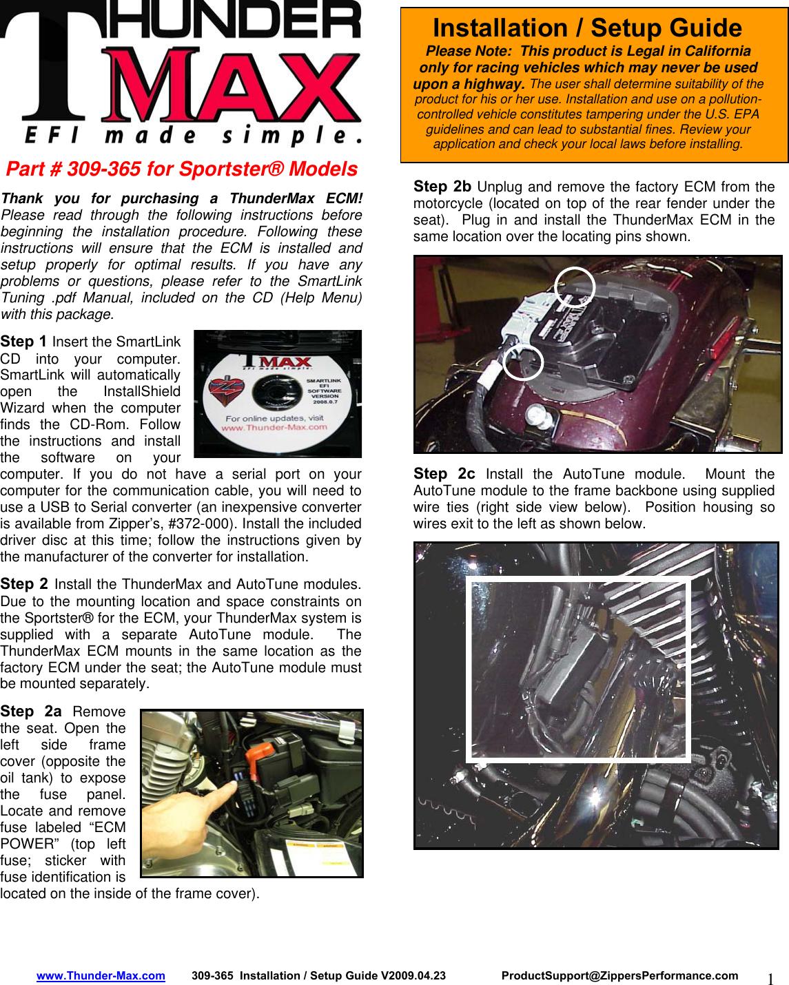 Zipper Mowers Thunder Max 309 365 Users Manual