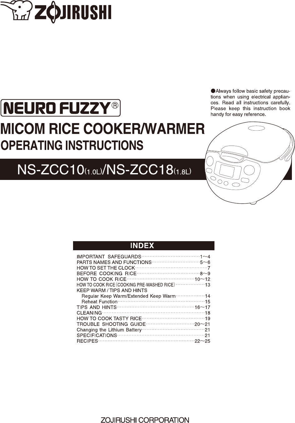 Download free pdf for zojirushi ns-zcc18 warmers other manual.