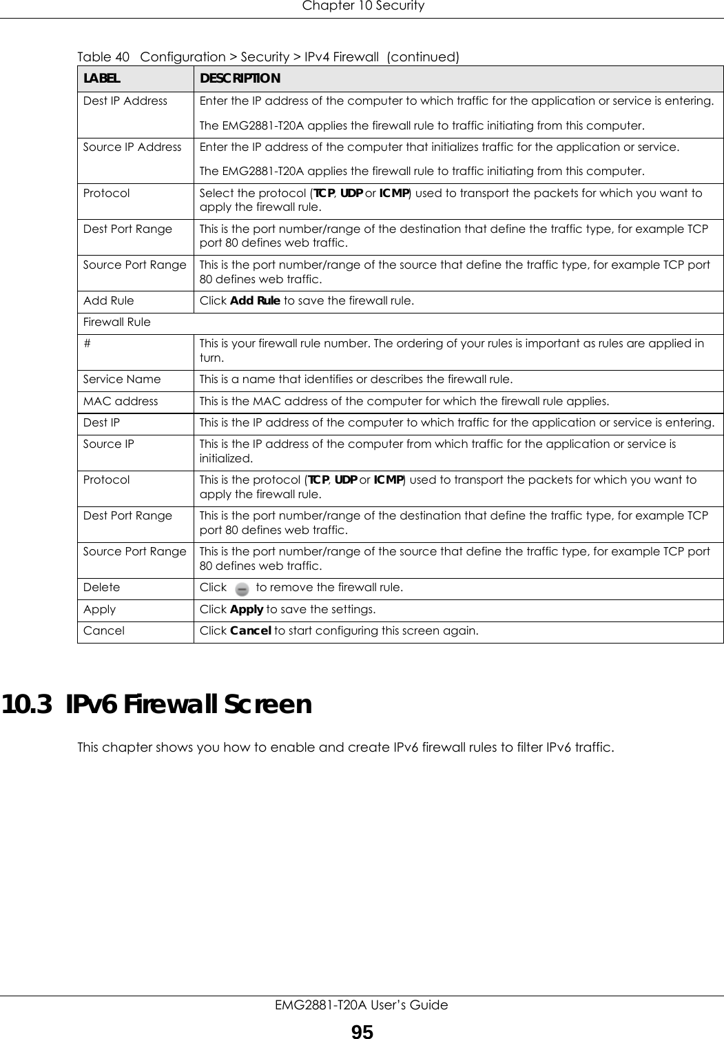 Chapter 10 SecurityEMG2881-T20A User's Guide9510.3  IPv6 Firewall Screen This chapter shows you how to enable and create IPv6 firewall rules to filter IPv6 traffic.Dest IP Address Enter the IP address of the computer to which traffic for the application or service is entering. The EMG2881-T20A applies the firewall rule to traffic initiating from this computer. Source IP Address Enter the IP address of the computer that initializes traffic for the application or service.The EMG2881-T20A applies the firewall rule to traffic initiating from this computer.Protocol  Select the protocol (TCP, UDP or ICMP) used to transport the packets for which you want to apply the firewall rule.Dest Port Range This is the port number/range of the destination that define the traffic type, for example TCP port 80 defines web traffic.Source Port Range This is the port number/range of the source that define the traffic type, for example TCP port 80 defines web traffic.Add Rule Click Add Rule to save the firewall rule. Firewall Rule# This is your firewall rule number. The ordering of your rules is important as rules are applied in turn. Service Name This is a name that identifies or describes the firewall rule.MAC address This is the MAC address of the computer for which the firewall rule applies.Dest IP This is the IP address of the computer to which traffic for the application or service is entering. Source IP This is the IP address of the computer from which traffic for the application or service is initialized. Protocol This is the protocol (TCP, UDP or ICMP) used to transport the packets for which you want to apply the firewall rule. Dest Port Range This is the port number/range of the destination that define the traffic type, for example TCP port 80 defines web traffic.Source Port Range This is the port number/range of the source that define the traffic type, for example TCP port 80 defines web traffic.Delete Click   to remove the firewall rule.Apply Click Apply to save the settings. C