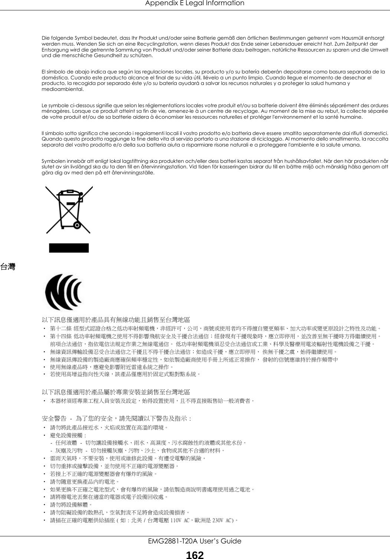 Appendix E Legal InformationEMG2881-T20A User's Guide162Die folgende Symbol bedeutet, dass Ihr Produkt und/oder seine Batterie gemäß den örtlichen Bestimmungen getrennt vom Hausmüll entsorgt werden muss. Wenden Sie sich an eine Recyclingstation, wenn dieses Produkt das Ende seiner Lebensdauer erreicht hat. Zum Zeitpunkt der Entsorgung wird die getrennte Sammlung von Produkt und/oder seiner Batterie dazu beitragen, natürliche Ressourcen zu sparen und die Umwelt und die menschliche Gesundheit zu schützen.El símbolo de abajo indica que según las regulaciones locales, su producto y/o su batería deberán depositarse como basura separada de la doméstica. Cuando este producto alcance el final de su vida útil, llévelo a un punto limpio. Cuando llegue el momento de desechar el producto, la recogida por separado éste y/o su batería ayudará a salvar los recursos naturales y a proteger la salud humana y medioambiental.Le symbole ci-dessous signifie que selon les réglementations locales votre produit et/ou sa batterie doivent être éliminés séparément des ordures ménagères. Lorsque ce produit atteint sa fin de vie, amenez-le à un centre de recyclage. Au moment de la mise au rebut, la collecte séparée de votre produit et/ou de sa batterie aidera à économiser les ressources naturelles et protéger l'environnement et la santé humaine.Il simbolo sotto significa che secondo i regolamenti locali il vostro prodotto e/o batteria deve essere smaltito separatamente dai rifiuti domestici. Quando questo prodotto raggiunge la fine della vita di servizio portarlo a una stazione di riciclaggio. Al momento dello smaltimento, la raccolta separata del vostro prodotto e/o della sua batteria aiuta a risparmiare risorse naturali e a proteggere l'ambiente e la salute umana.Symbolen innebär att enligt lokal lagstiftning ska produkten och/eller dess batteri kastas separat från hushållsavfallet. När den här produkten når slutet av sin livslängd ska du ta den till en återvinningsstation. Vid tiden för kasse