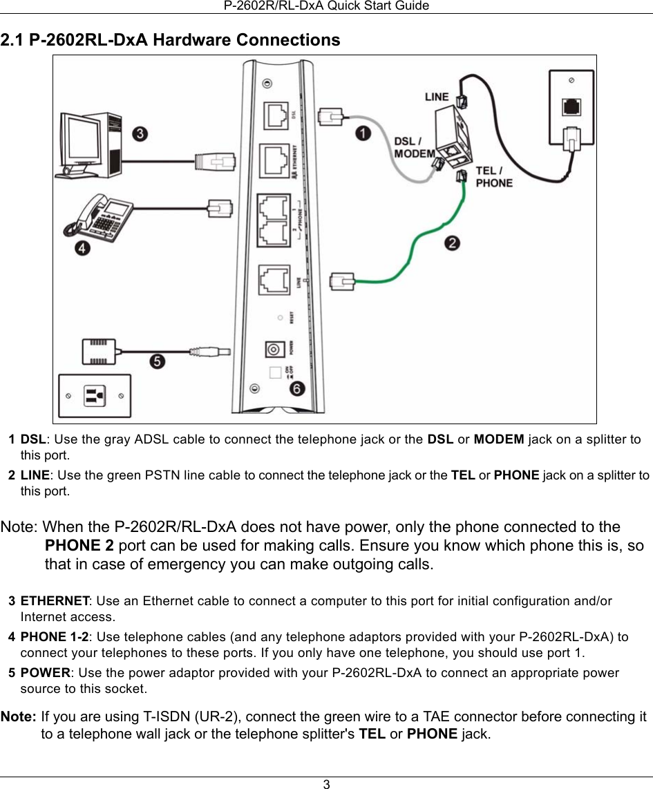 Zyxel P 2602r Rl Dxa Users Manual P2602rl Qsg V3 40 2006 2 Line Phone Telephone Splitter Wiring Diagram Page 3 Of 11