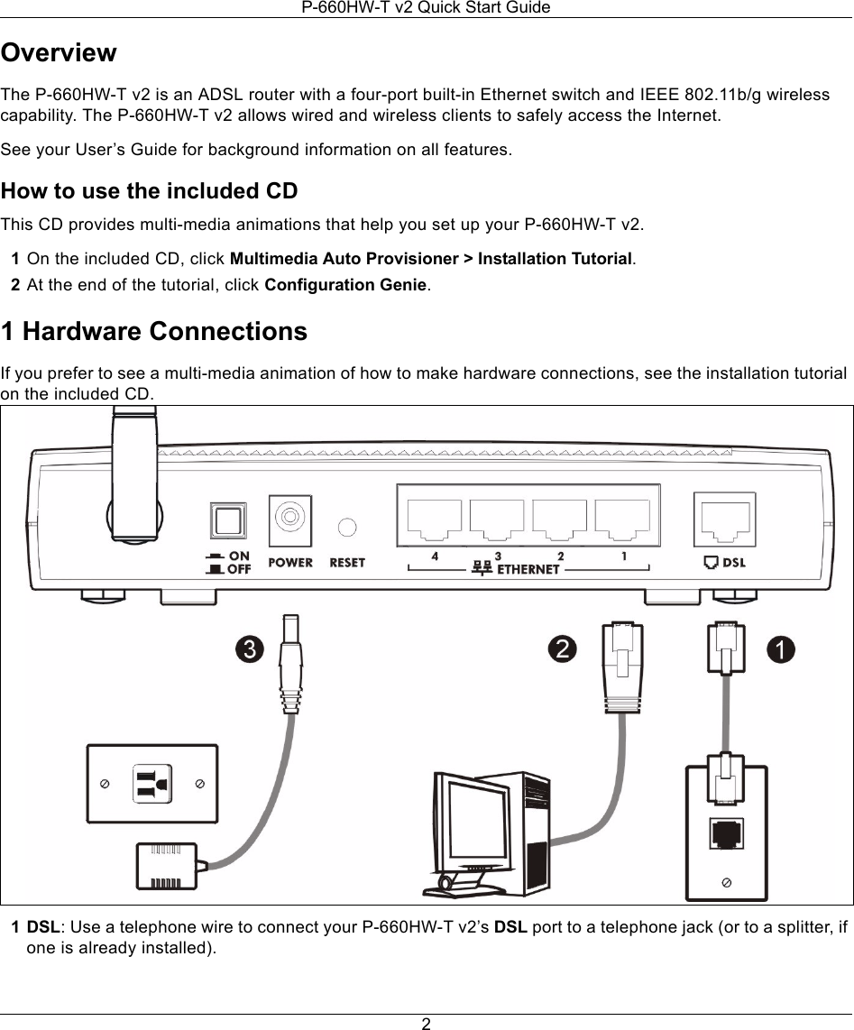 Zyxel P 660hw T V2 Users Manual T3 Qsg 2006 06 14 Features Of Telephone Wiring Diagram 1 Page 2 6
