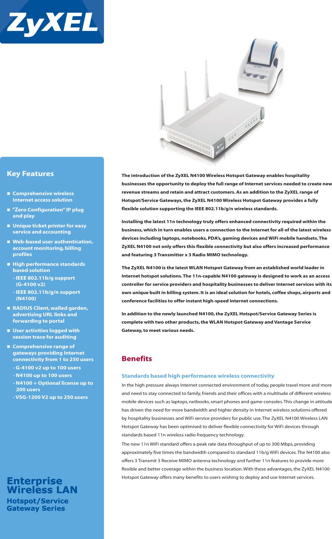 Zyxel Wireless N Hotspot Gateway N4100 Users Manual