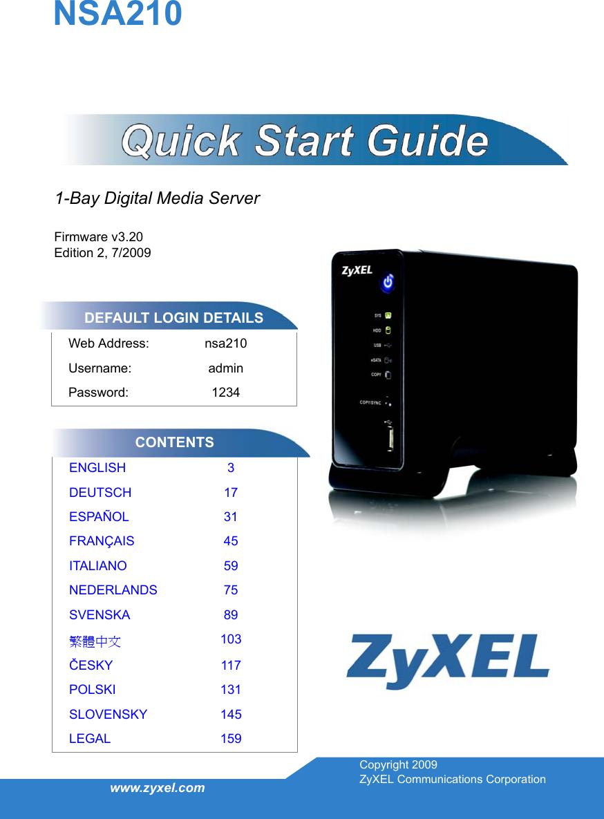 Zyxel Zyxeel 1 Bay Digital Media Server Nsa210 Users Manual