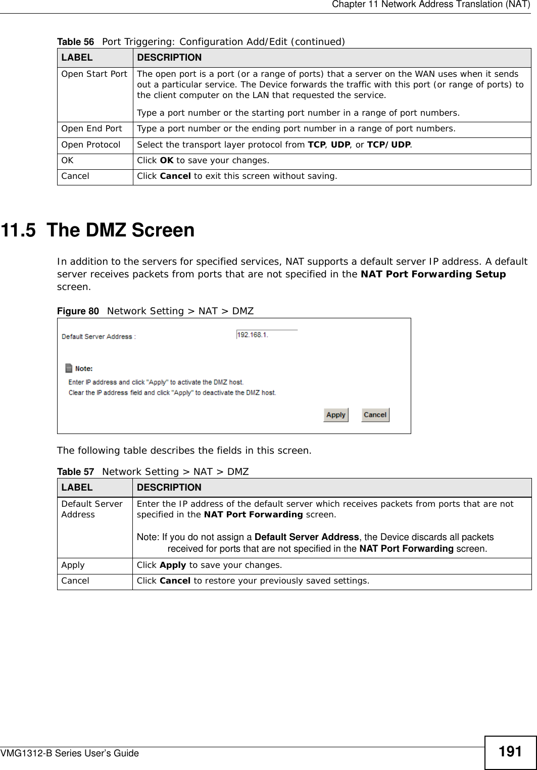 Zyxel Communications Network Router Vmg1312 B Users Manual