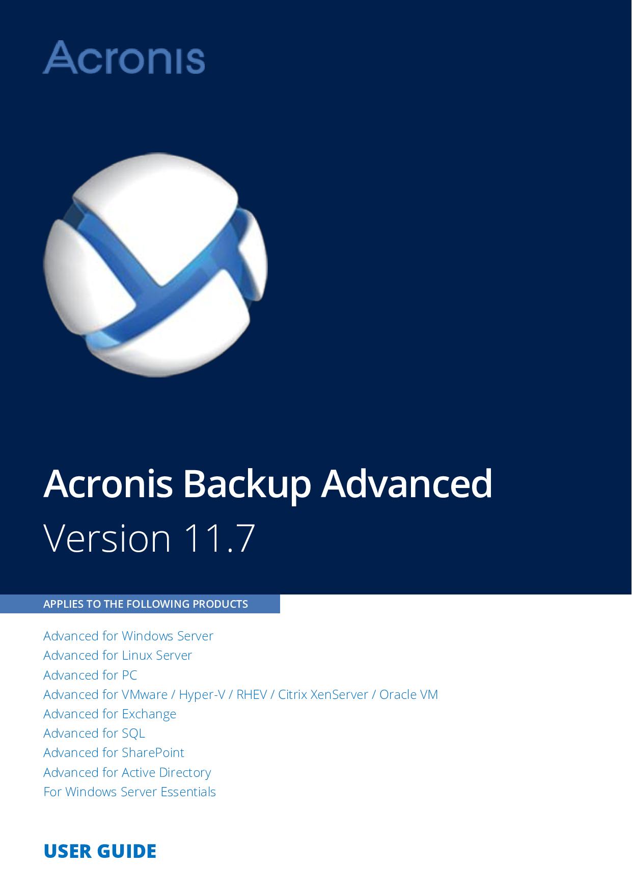 Acronis Backup Advanced 11 7 User Guide Ug En