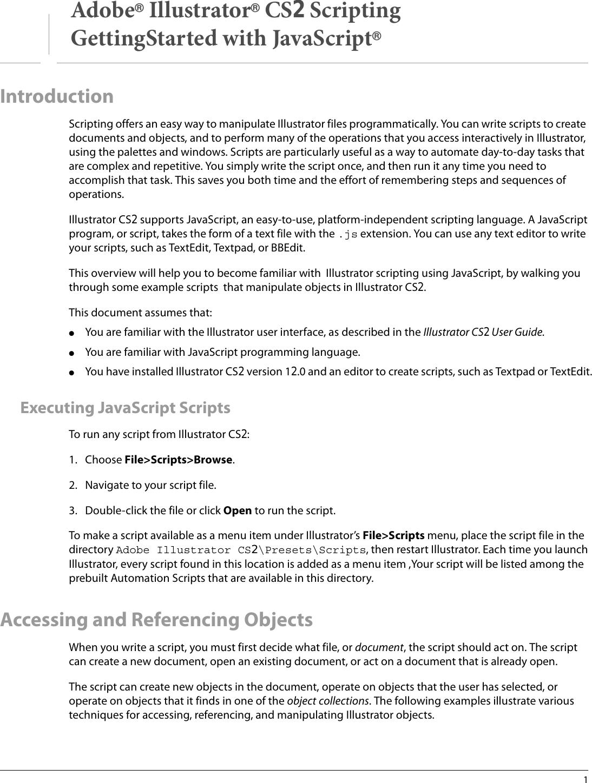 Adobe GettingStarted Illustrator CS2 Scripting Getting