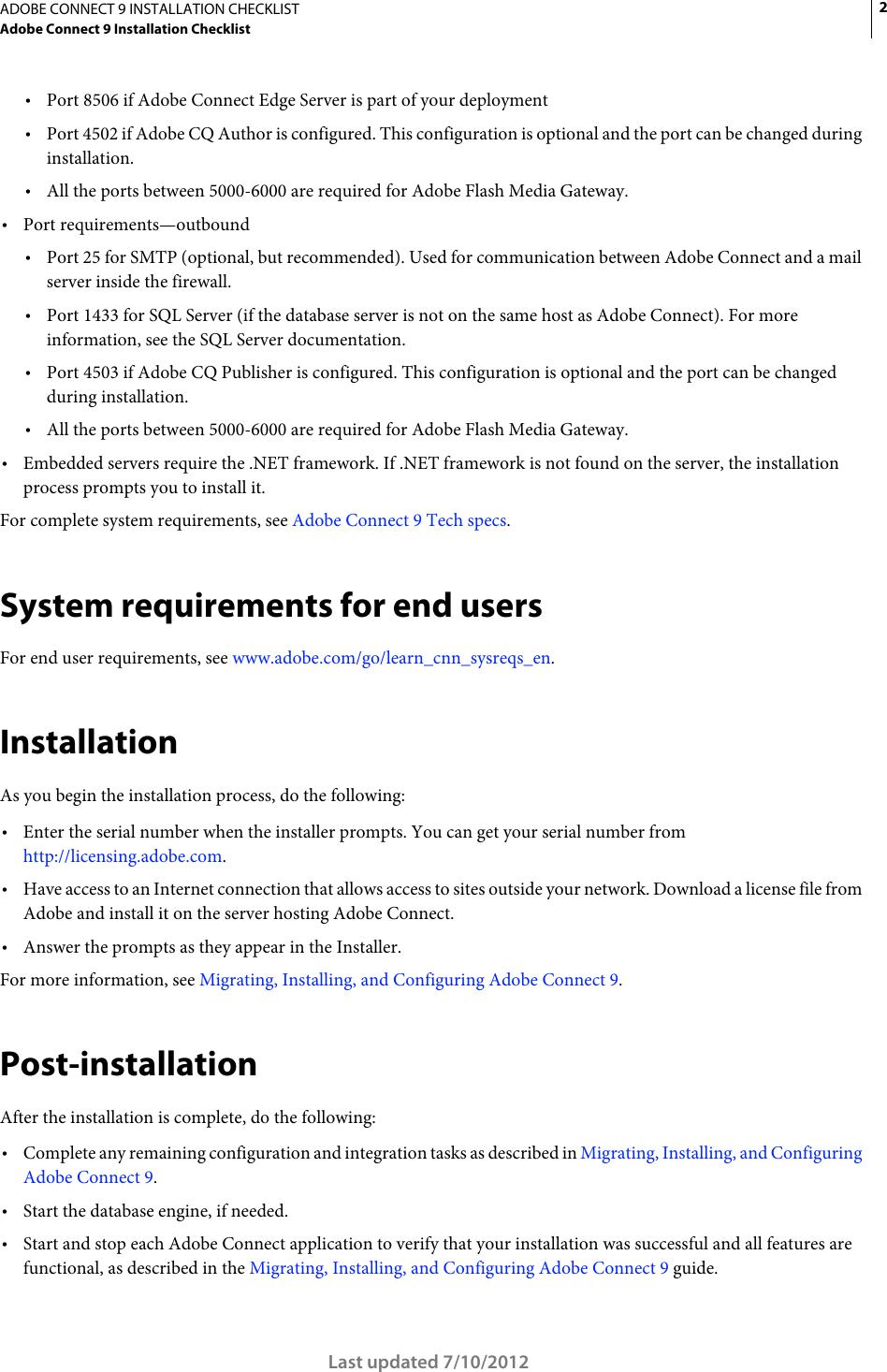 Adobe Connect 9 Installation Checklist 9 0 Install En
