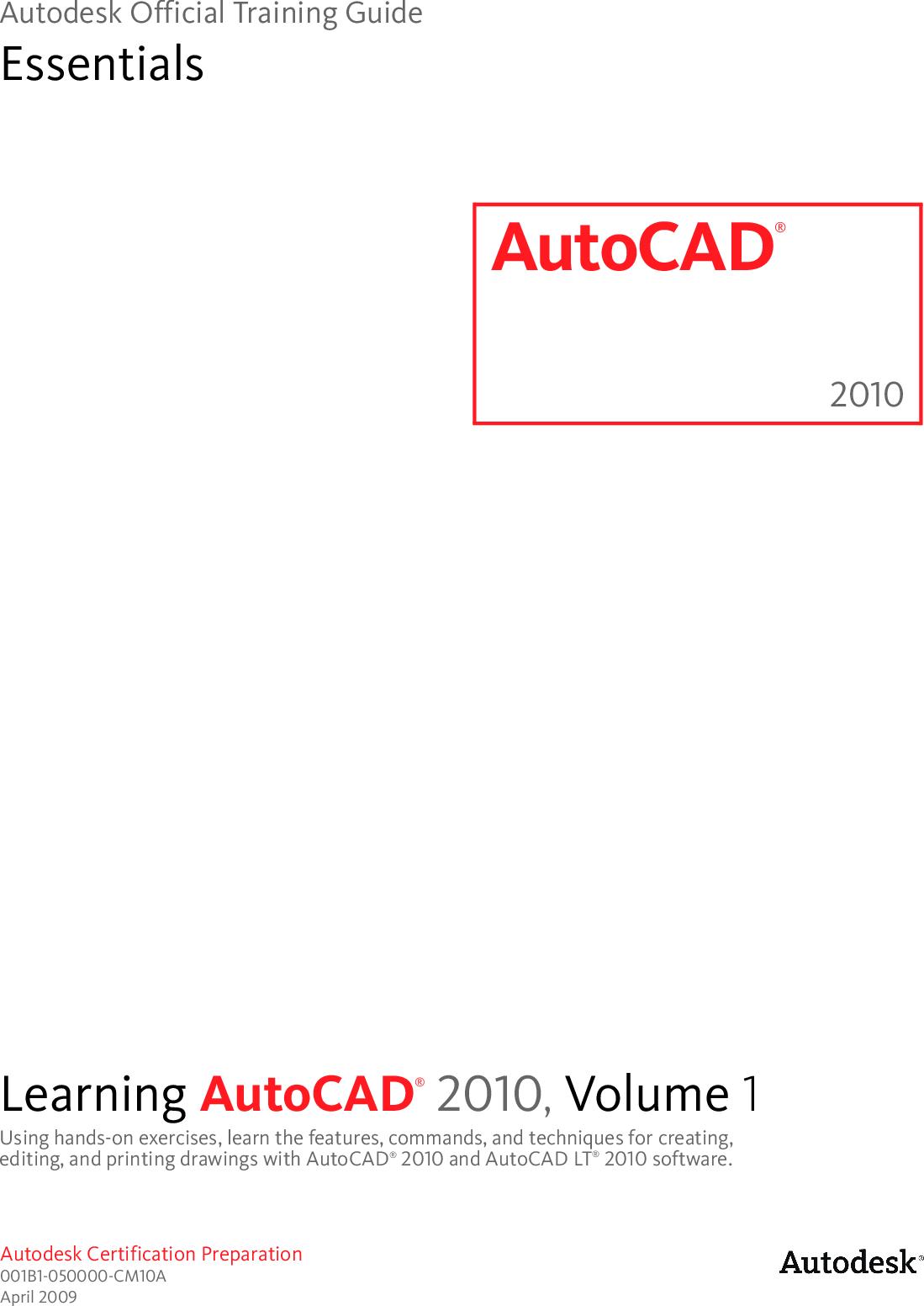 Autodesk Auto CAD 2010 Official Training Guide CAD2010 TG EN