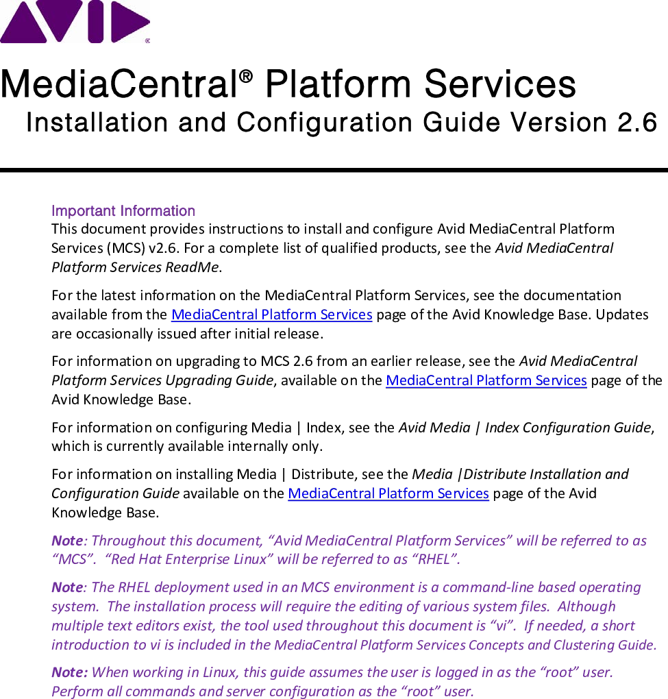 Avid MediaCentral Platform Services Installation