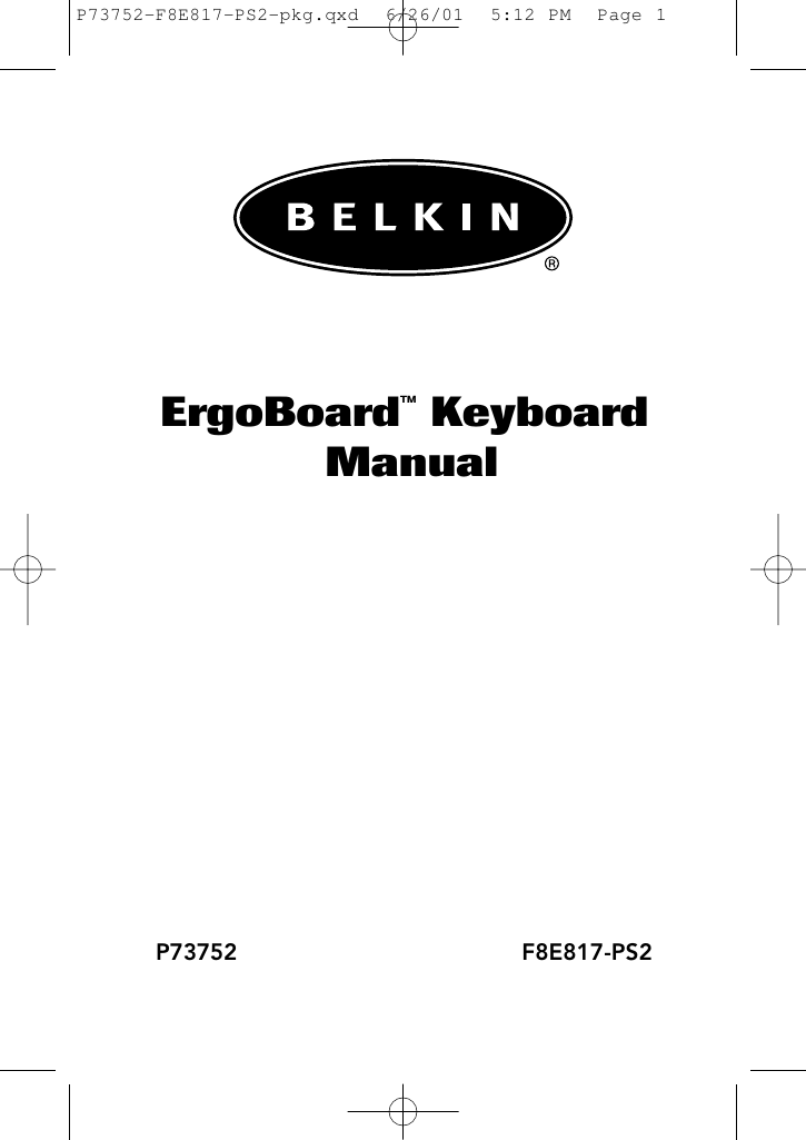 Belkin F8e817ps2 P73752 F8E817 PS2 pkg User Manual Fd214171