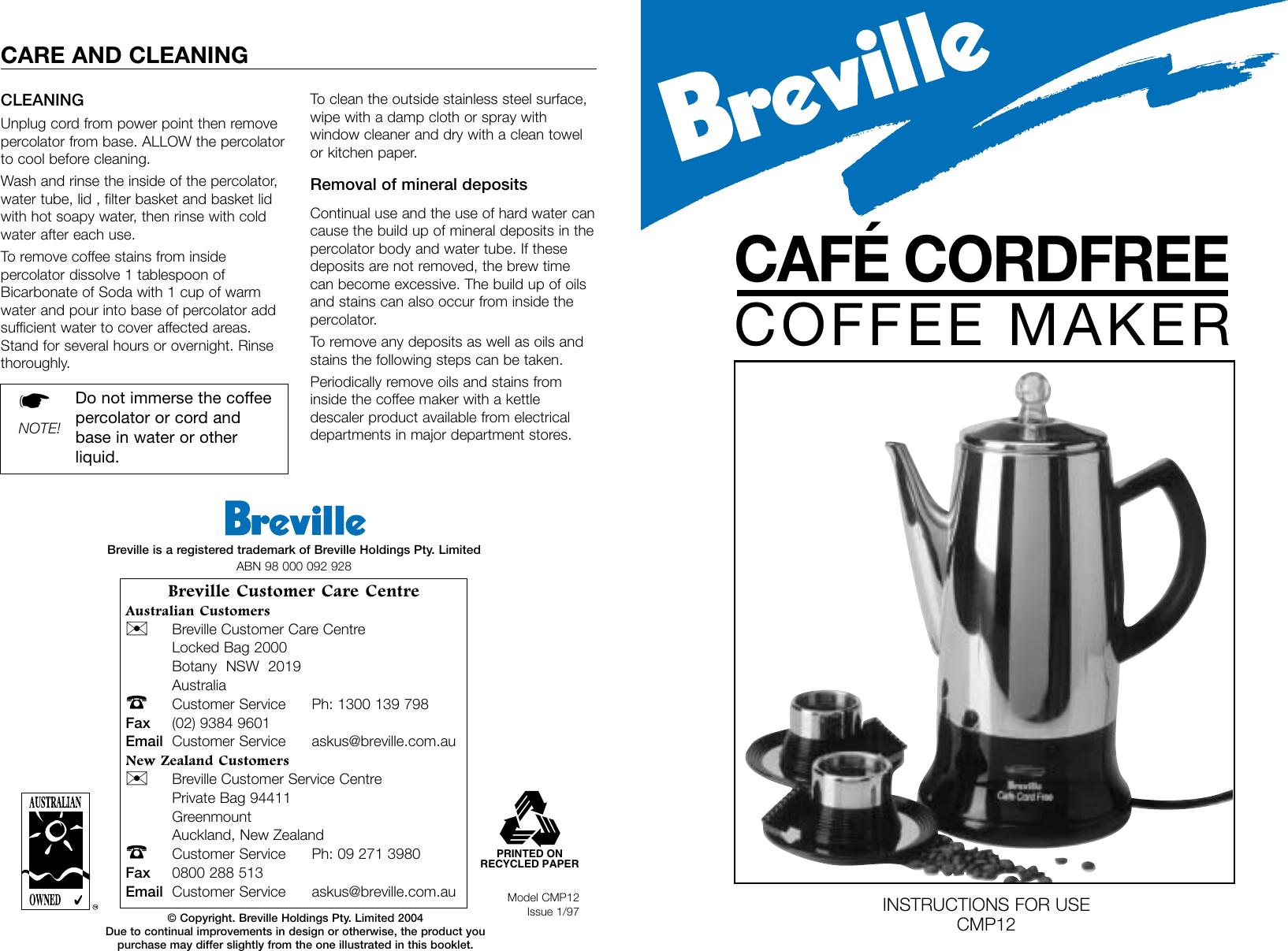 Breville Cmp12 User Manual E8a55a1c A464 4bed A948 0f3efcc7bc87