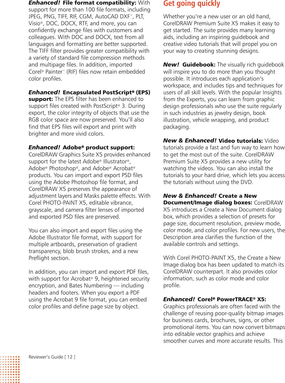 Corel CorelDRAW Premium Suite X5 Reviewer's Guide Draw CDPSX5 Rg En