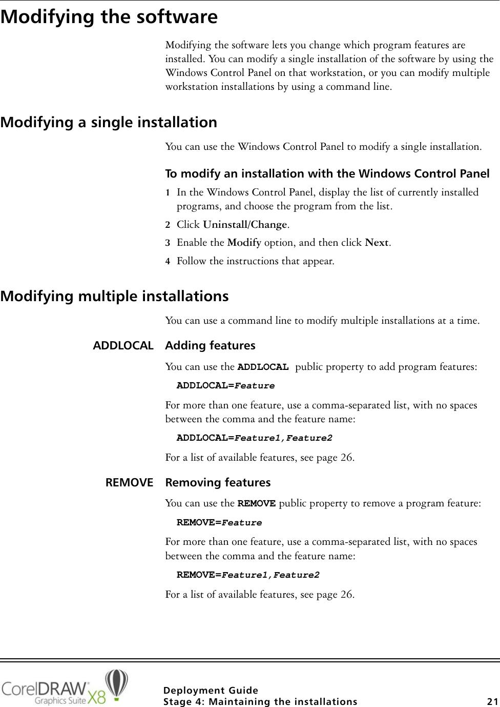 Corel CorelDRAW Graphics Suite X8 Deployment Guide Draw DG EN