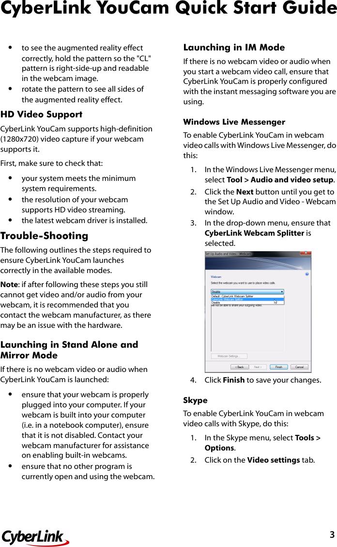 Cyberlink QuickStart You Cam 5 0 Quick Start Guide 5 Qsg