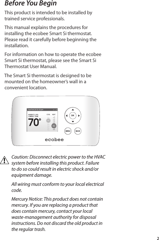 ecobee orporated EBSTATSI01 Smart Thermostat User Manual