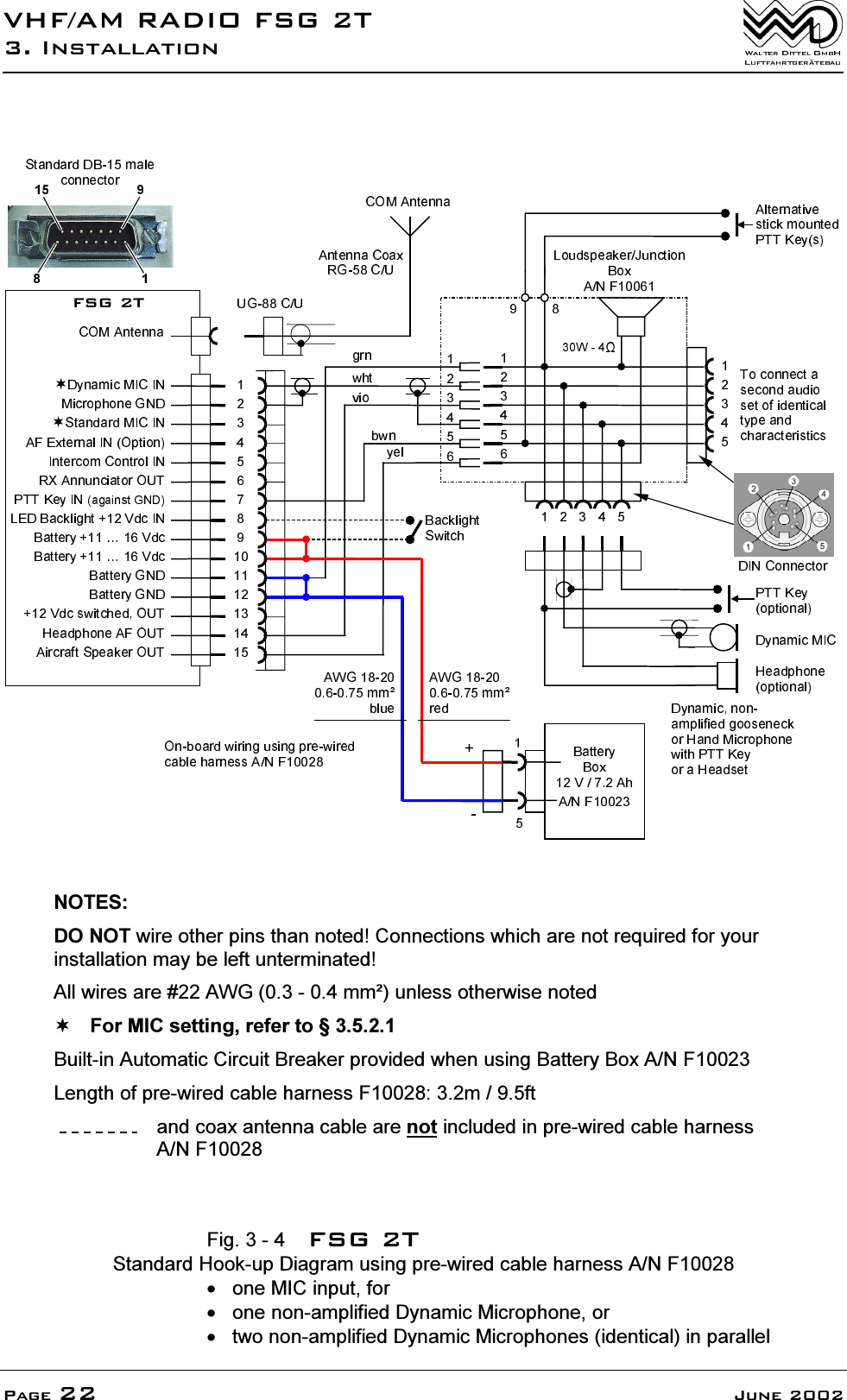 F U N K E Avionics Fsg2t Vhf Am Com Transceiver Fsg 2t User Manual Dynamic Mic Diagram 9 05apos26