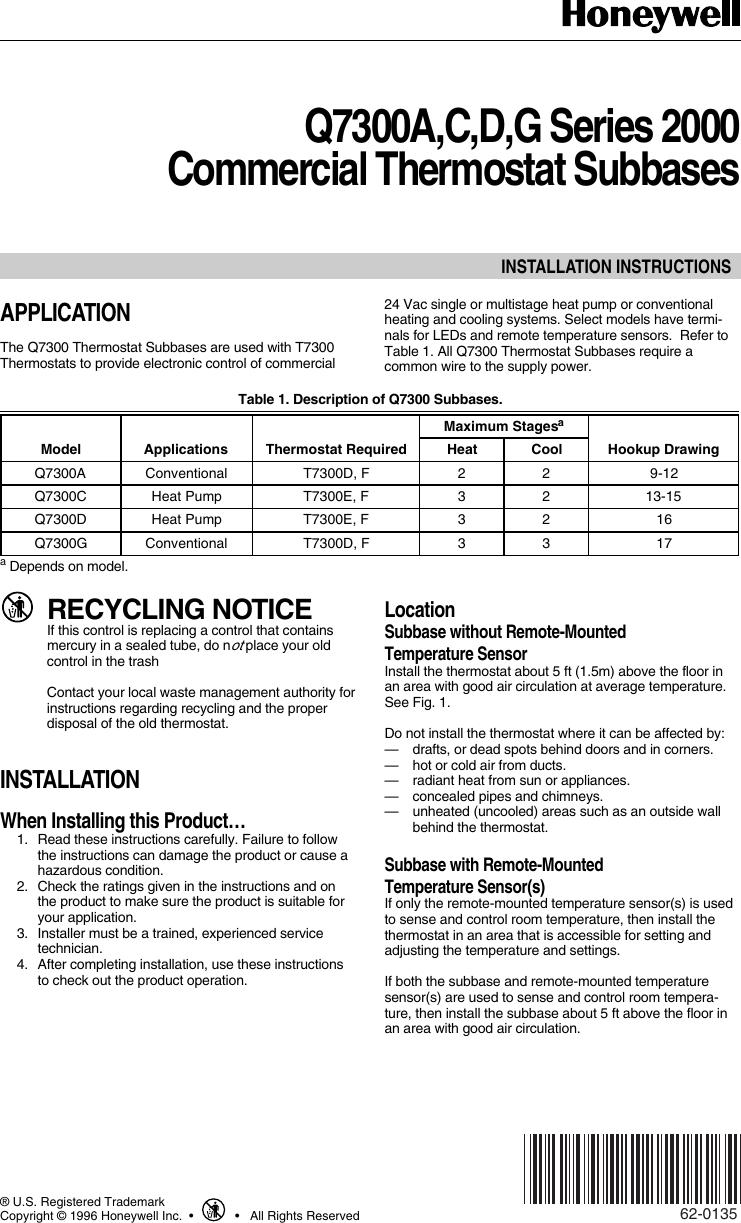 Honeywell 20001 62 0135 Q7300A,C,D,G Series 2000 Commercial ...