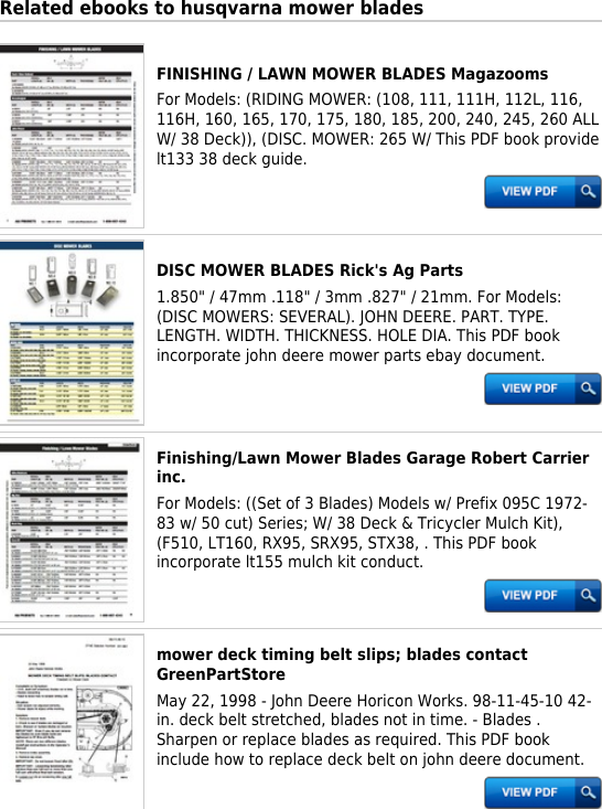 Hp Husqvarna Mower Blades Productmanualguide com Preview !