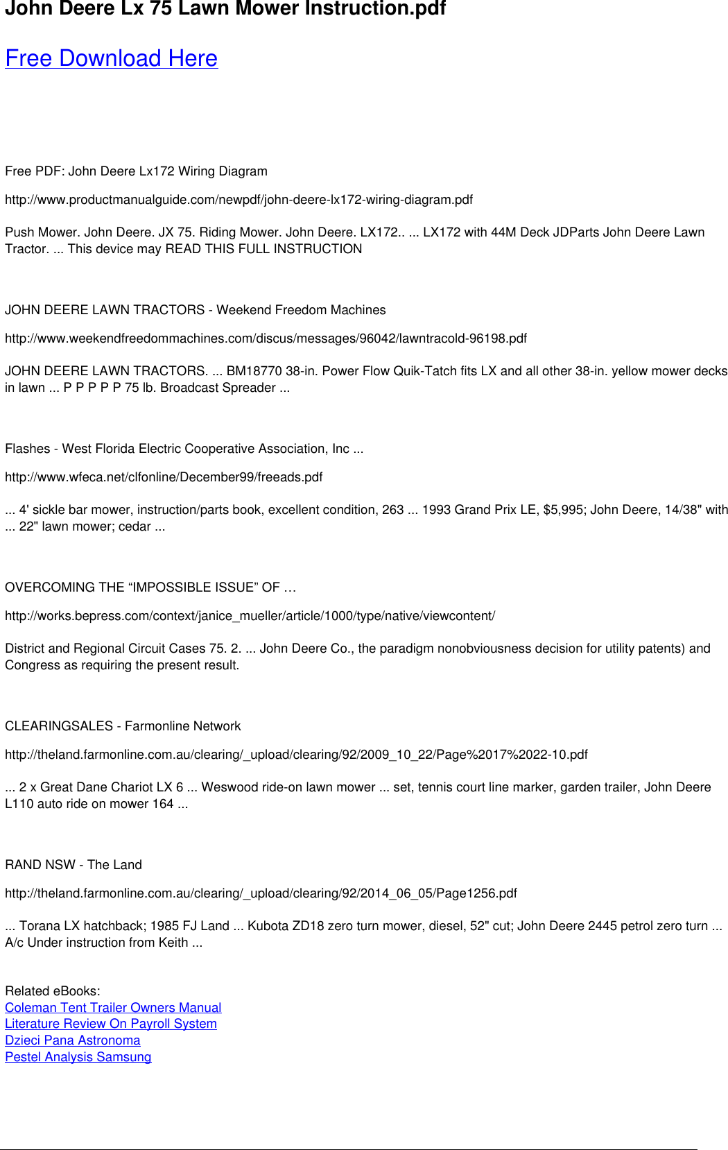 Hp John Deere Lx 75 Lawn Mower Instruction Preview Lx172 Wiring Diagram