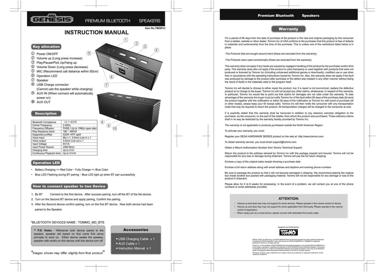 Success TMDB1E BLUETOOTH SPEAKER User Manual