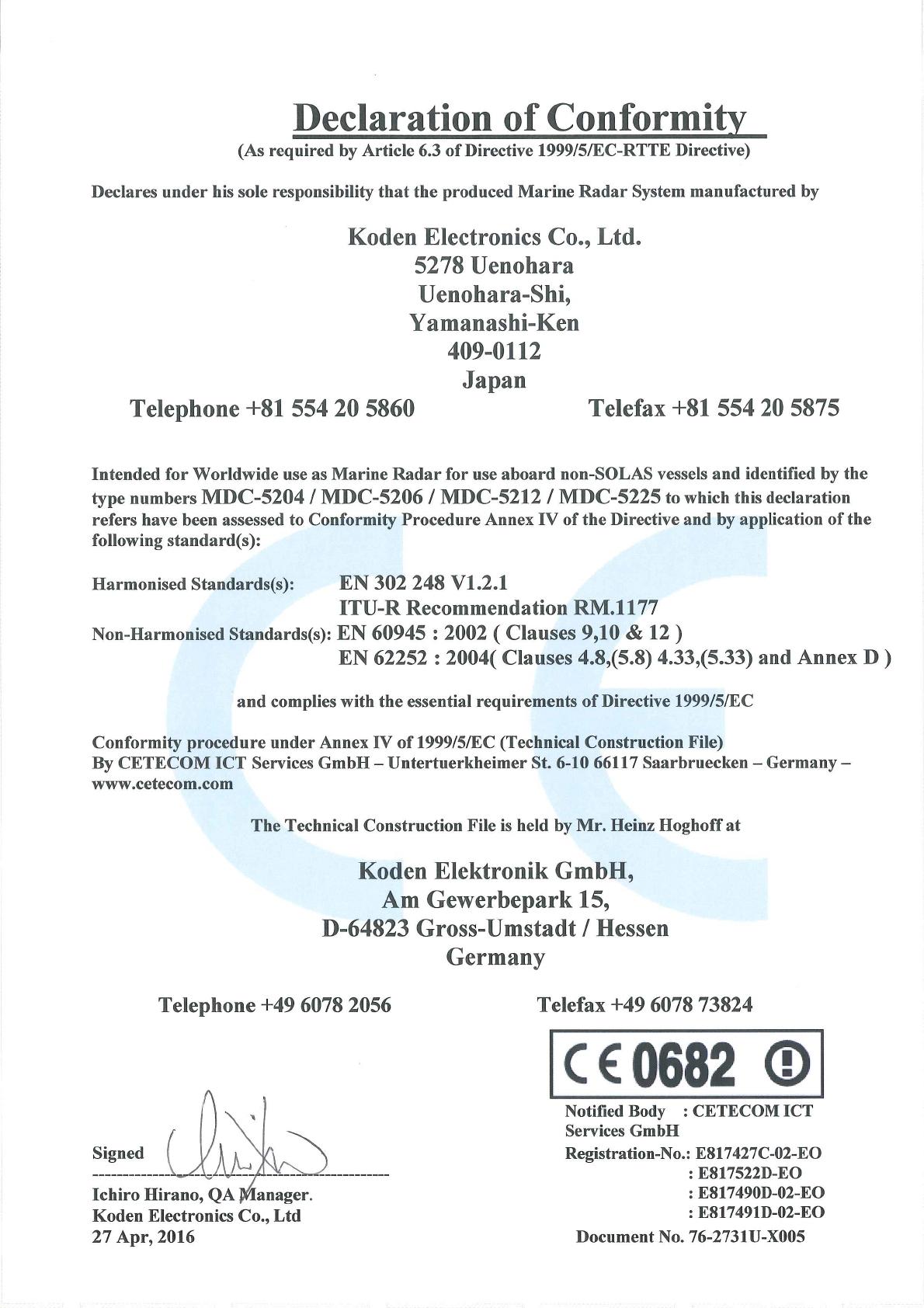 Koden Electronics RB808P X BAND MARINE RADAR User Manual MDC