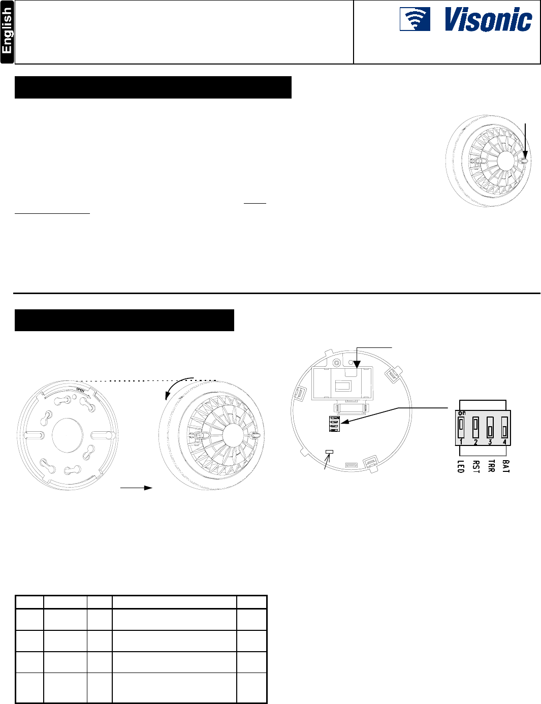 Visonic MCT425 Photoelectric Smoke Detector User Manual DE3642 0