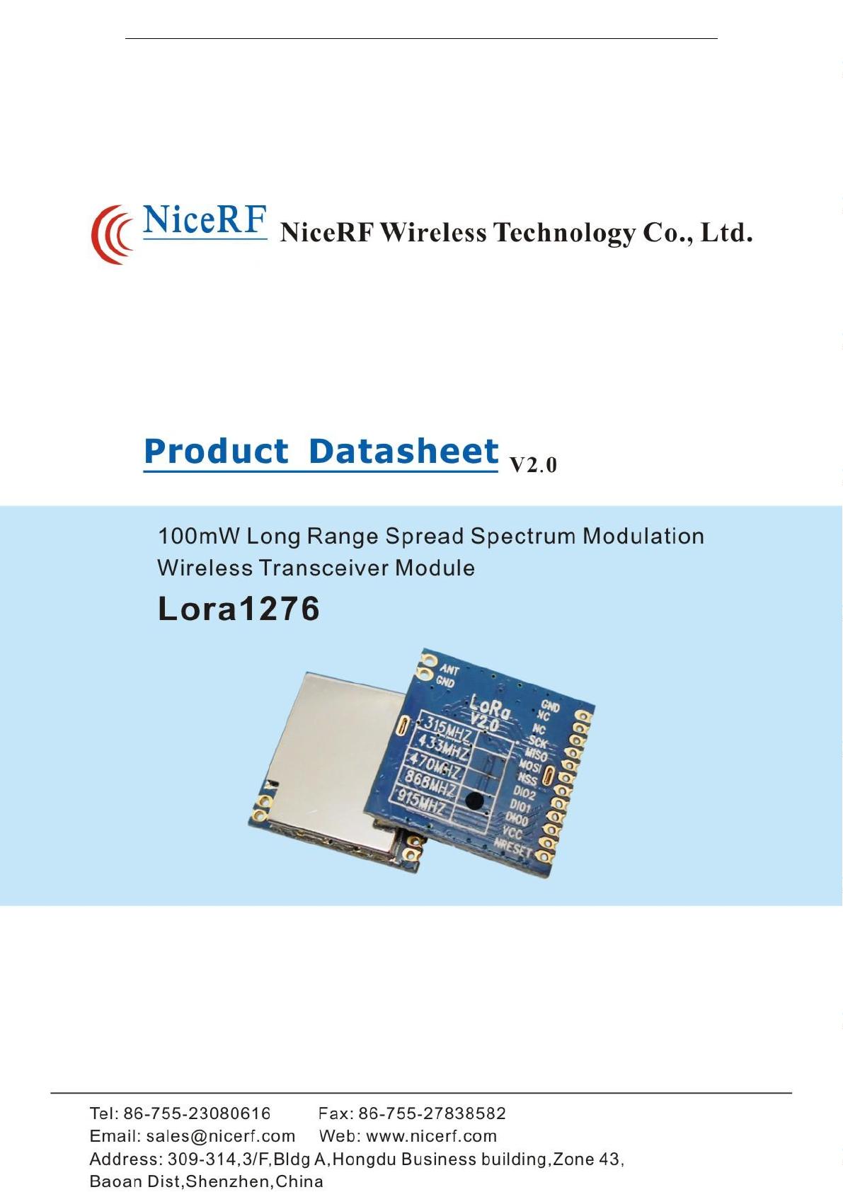 NiceRF Wireless Technology LORAV2 LORA V2 0-915 Wireless