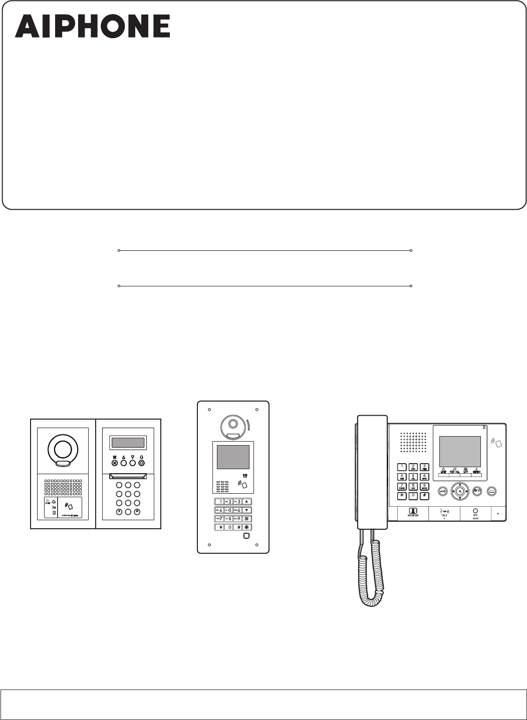 AIPHONE GTDMBN GT Apartment Intercom System User Manual ENG ... on