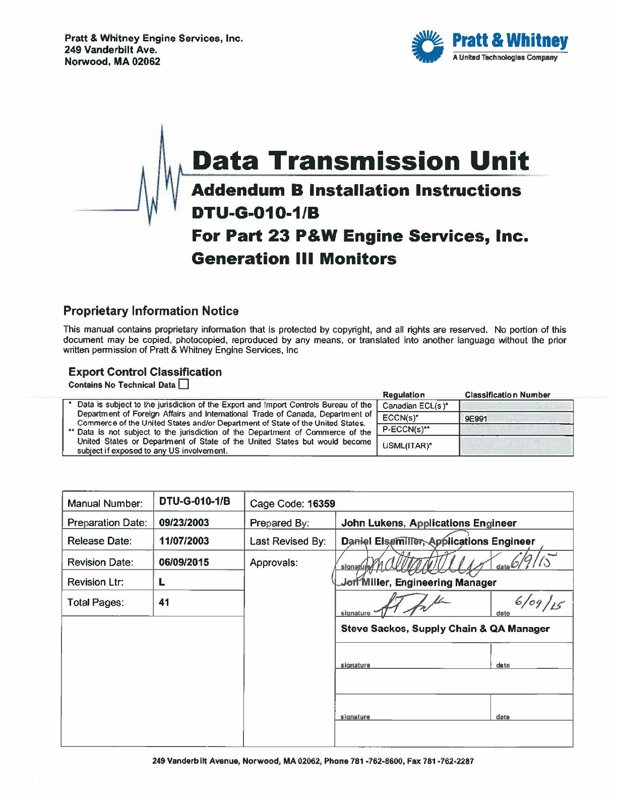 Pratt And Whitney Engine Services Fast34e Flight Data Raytheon Wiring Harness Acquisition Storage Transmission User Manual Dtu G 010 1 B