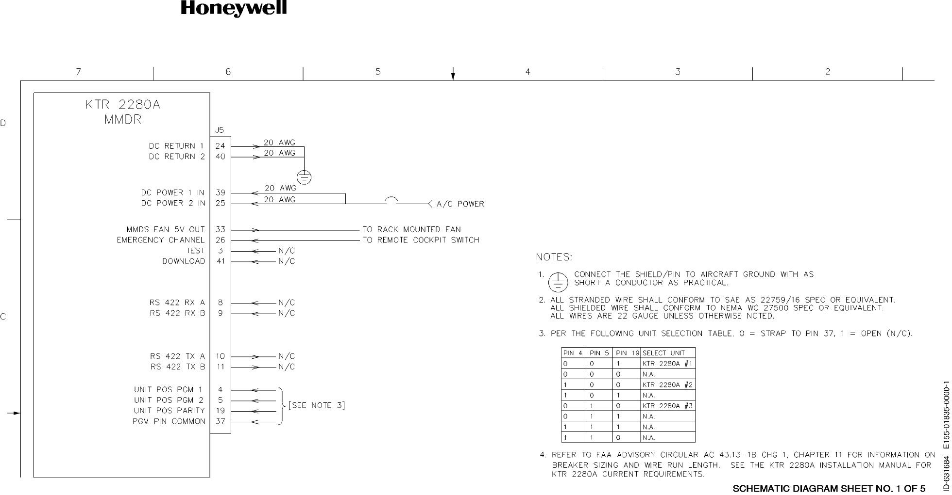 Honeywell Ktr2280a Licensed Non Broadcast Aeronautical Transmitter Note 3 Circuit Diagram System Installation Manual