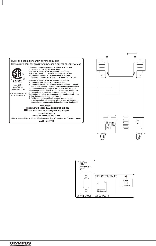 Olympus Medical Systems RU2020 Endoscope Reprocessor User