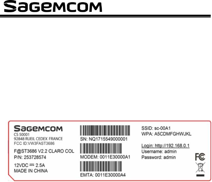SAGEMCOM BROANDS FAST3686 Euro-DOCSIS3 0 User Manual