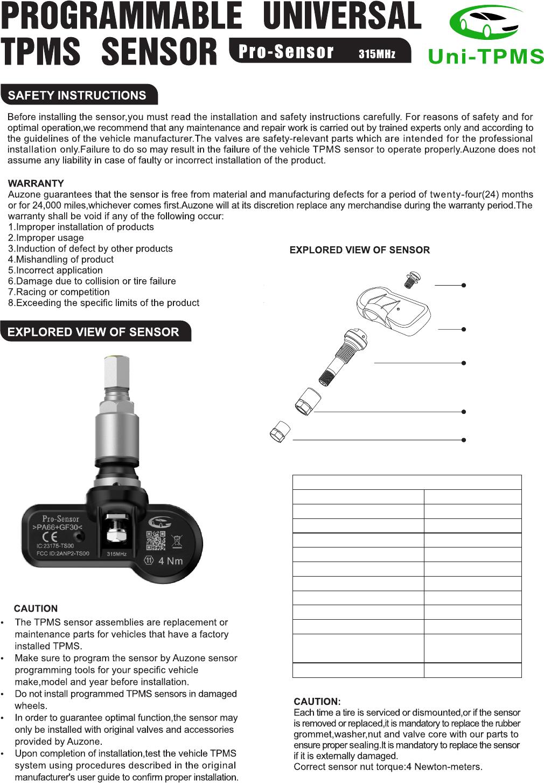 Auzone Technology TS00 Tire Pressure Sensor User Manual