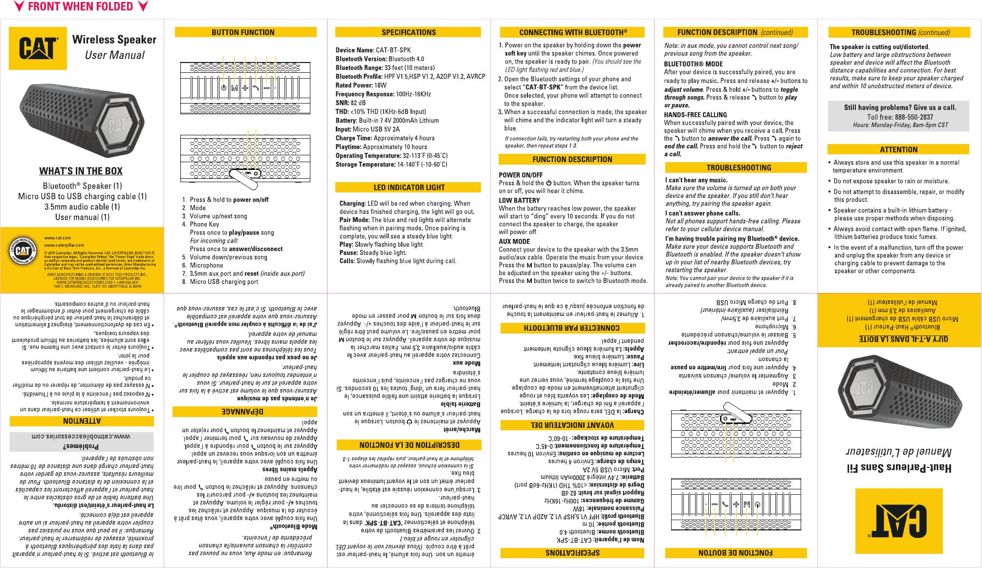Aries A Division Of Boss Tech Catbtspk Bluetooth Speaker User Manual Cat Bt Spk 0327
