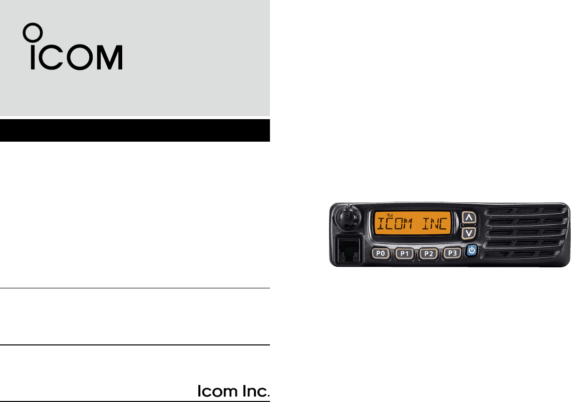 ICOM orporated 333212 UHF Digital Transceiver User Manual IC F5020
