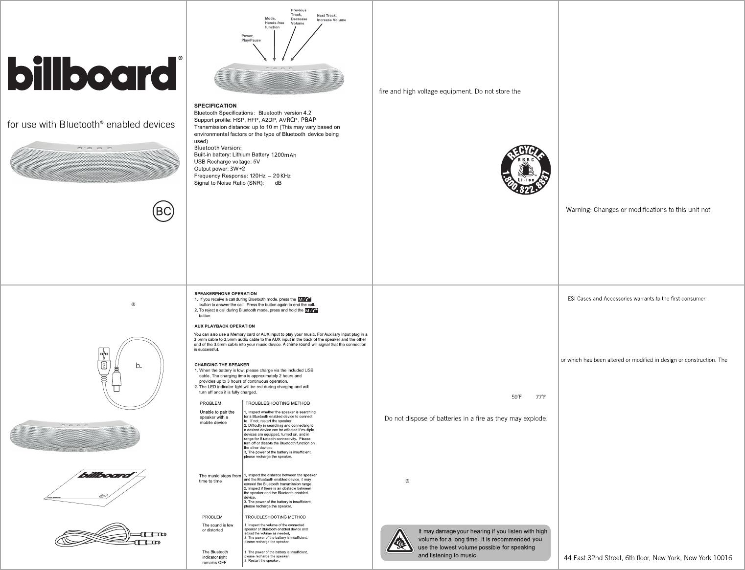G KINDLY ELECTRONIC KDL-BT1811 BLUETOOTH SPEAKER User Manual BB290