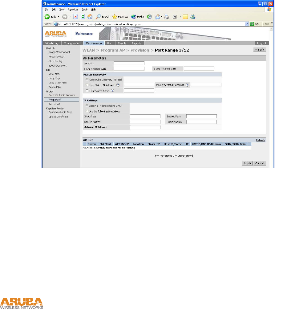 Aruba Networks ARUBA6061 802 11 a/ b/ g Access Point User Manual