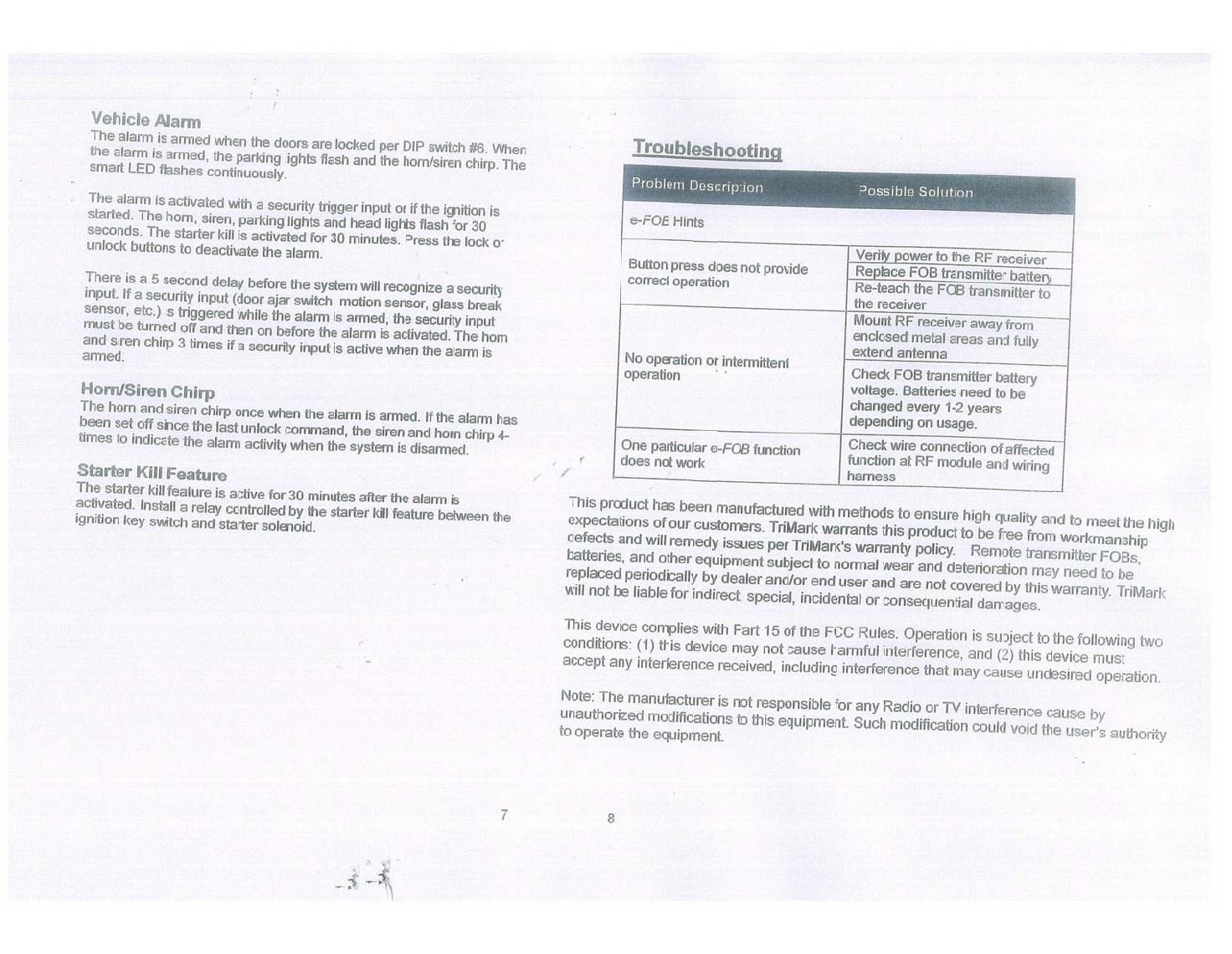 TriMark ERX e-FOB RF KEYLESS-ENTRY SYSTEM User Manual FF