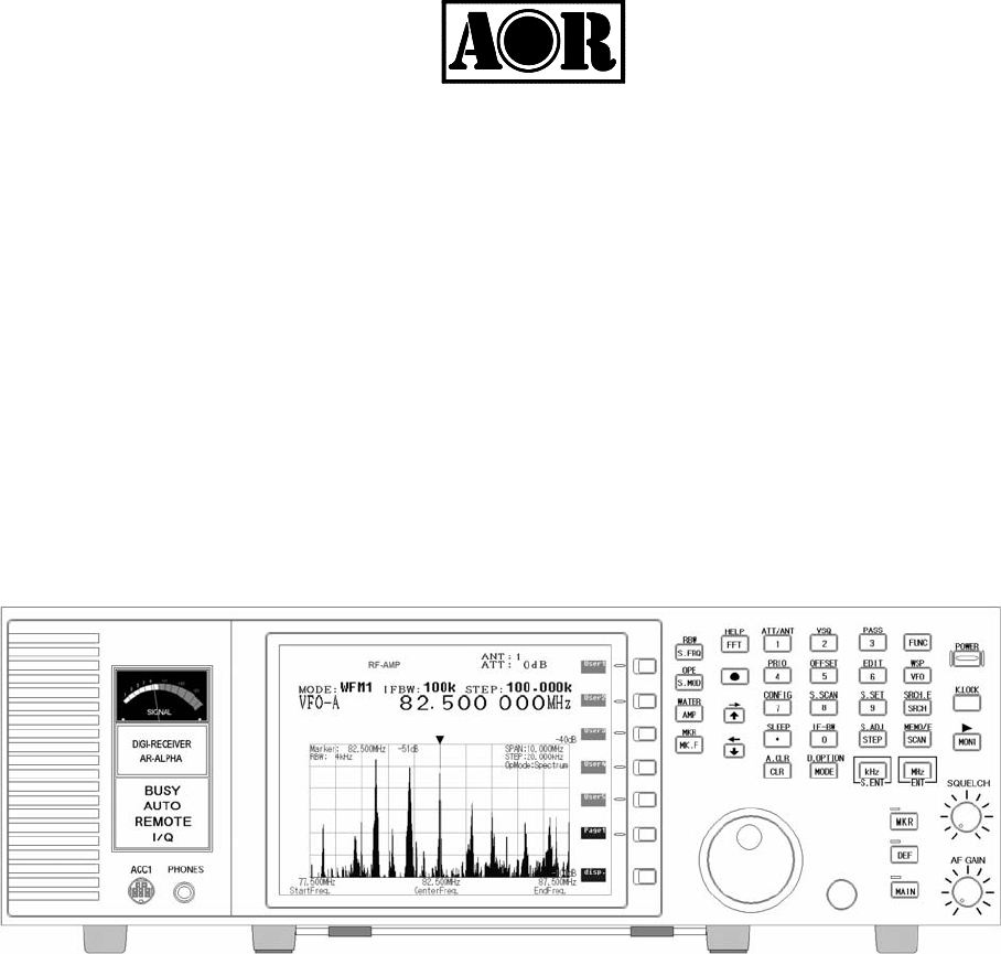 AOR USA AR-ALPHA Communications Receiver User Manual AOR AR