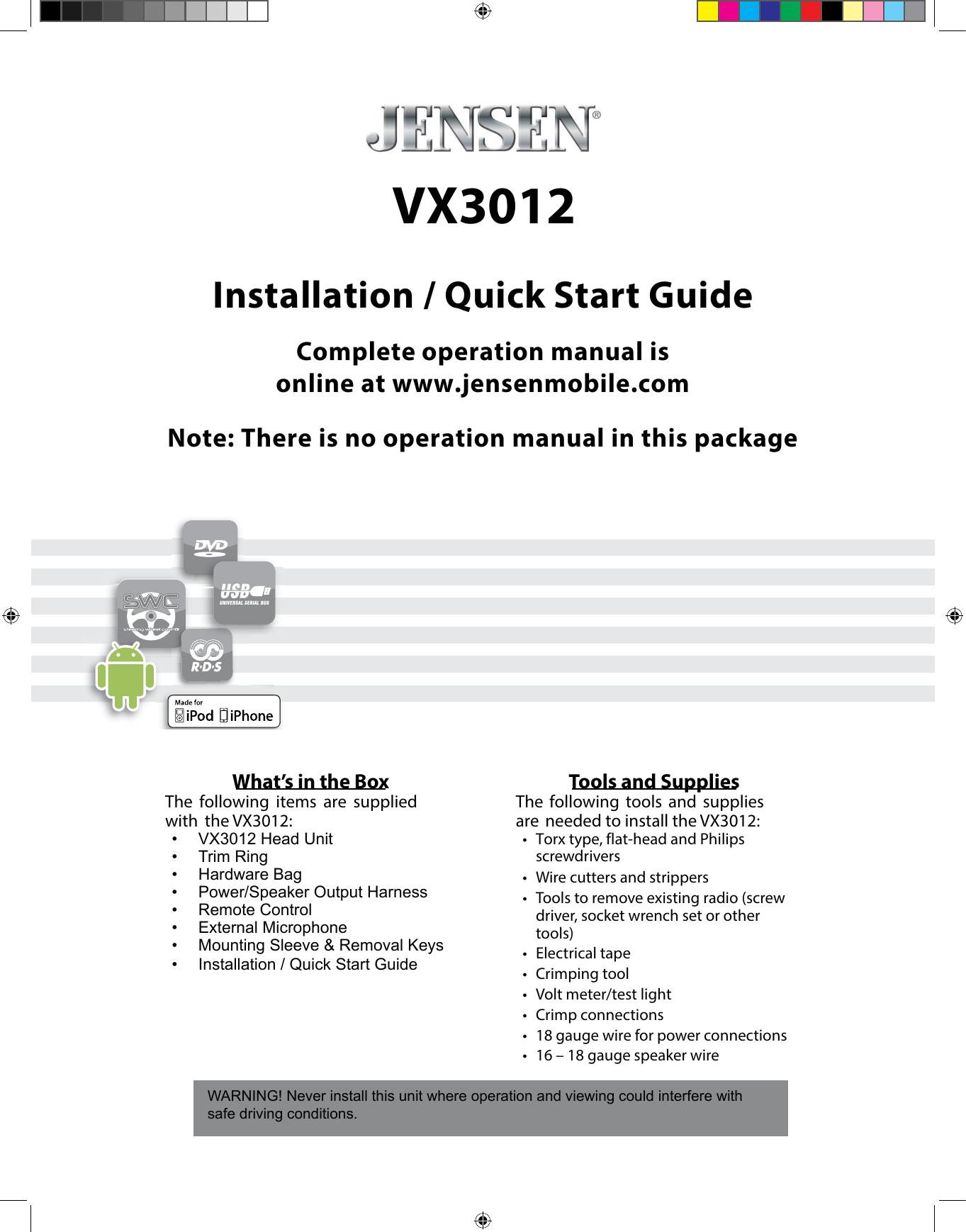 Jensen VX3010 IM_v1.revised VX 3012 Installation Quick Start ... on jensen tools, jensen cd3010x wiring harness, jensen vm9312 wiring, accel ecm wire diagram, jensen speaker, jensen din 8 pin,
