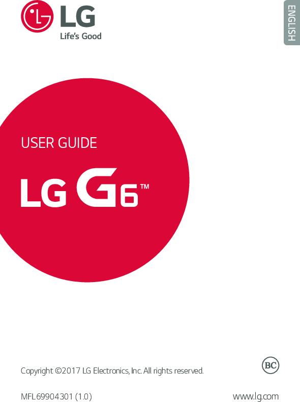 Lg G6 (AT&T) Operating Instructions H871 ATT EN