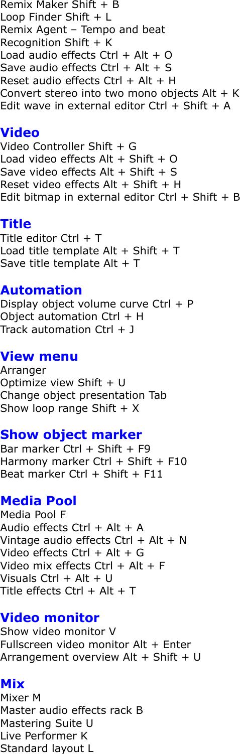 Magix Music Maker Premium 16 0 Keyboard Shortcuts 16
