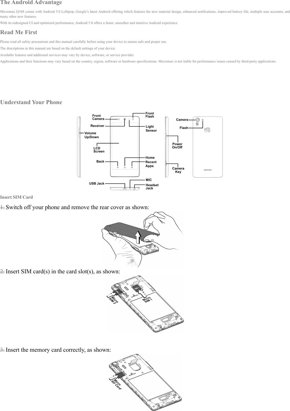 Micromax A120 User Manual Canvas Selfie 3 Instruction Q348 EN
