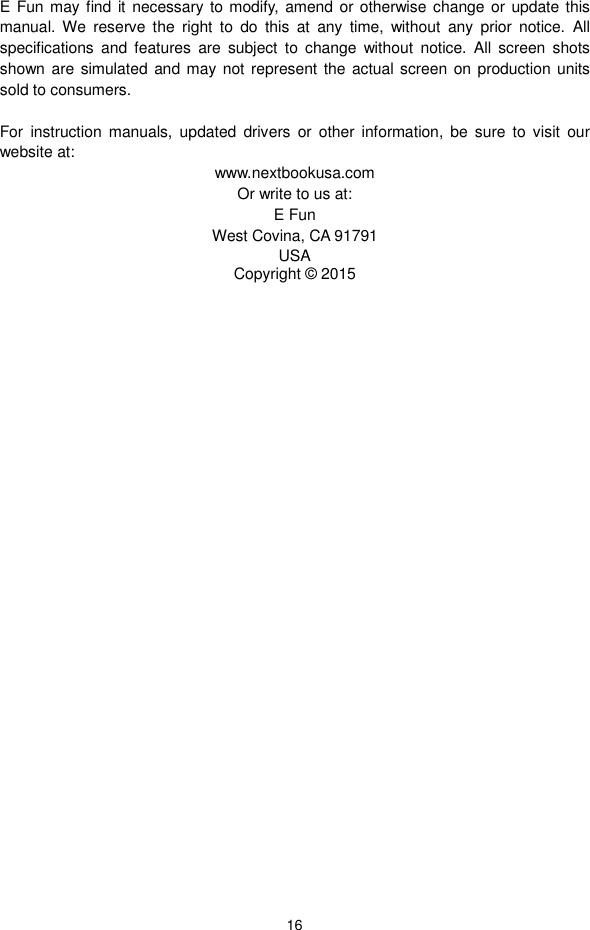 Nextbook Flexx 11 (NXW116QC264T) Operation Manual NXW116QC264T OM Eng
