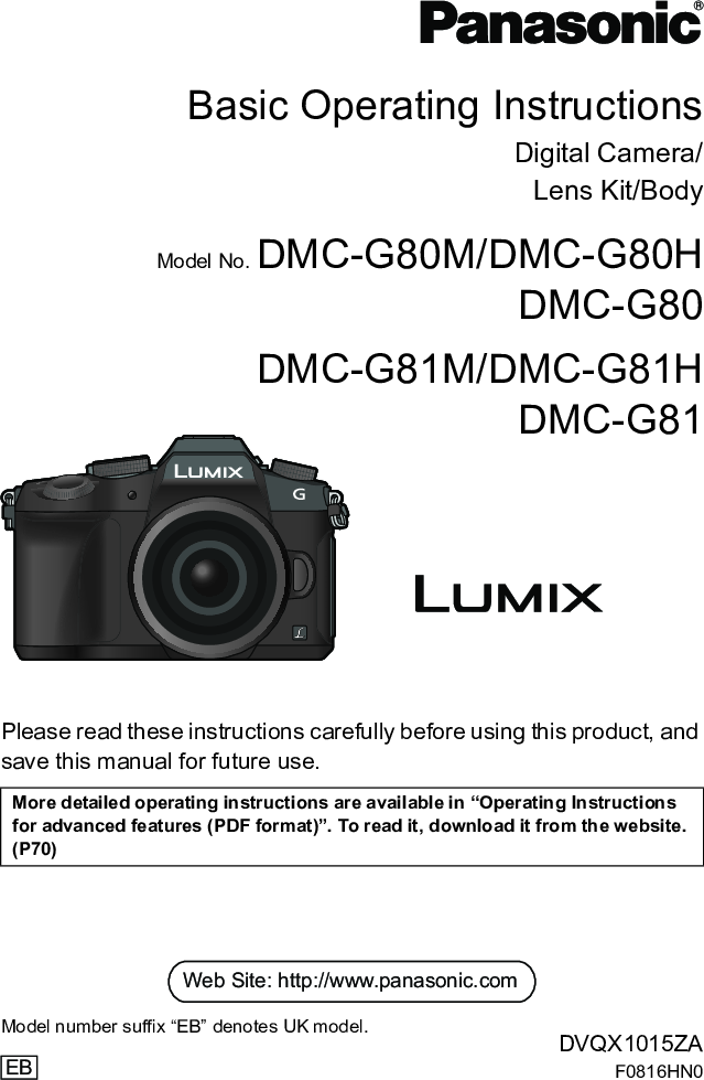 Panasonic DMC G80 Basic Operating Instructions G81 BM EN
