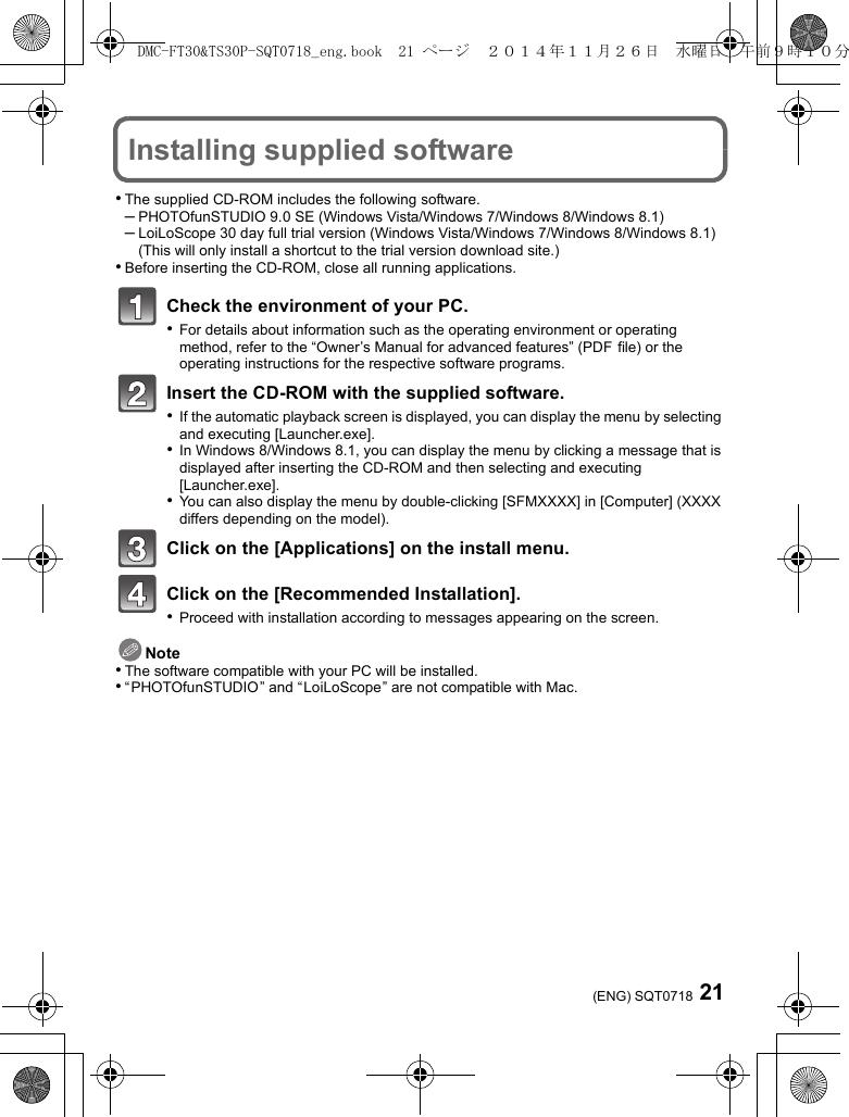 Panasonic DMC TS30 Basic Owner's Manual Dmcts30 Om En